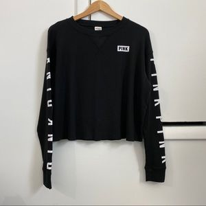 NWOT VS PINK Black Waffle Knit Long Sleeve Tee L